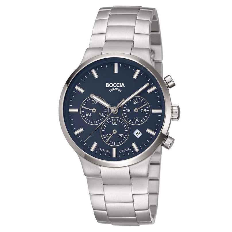 Boccia 3746-02 Men's Wristwatch Chronograph Titanium Blue 4040066262567
