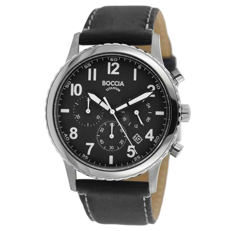 Boccia 3745-01 Herrenuhr Chronograph Titan mit Lederband 4040066262666