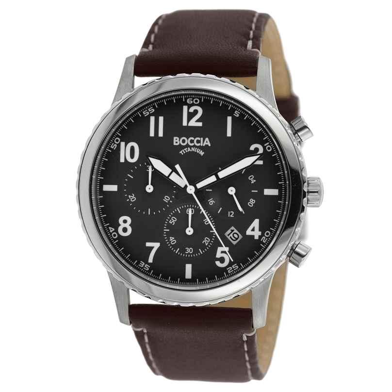 Boccia 3745-02 Herren-Chronograph Titan mit braunem Lederband 4040066262642