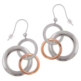Boccia 0554-03 Titanium Dangle Earrings Two-Colour Rose Gold
