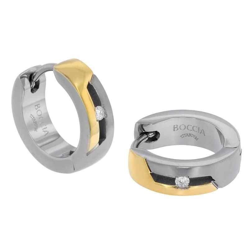Boccia 05045-04 Ladies' Hoop Earrings Titanium with Diamonds Two-Colour 4040066259222