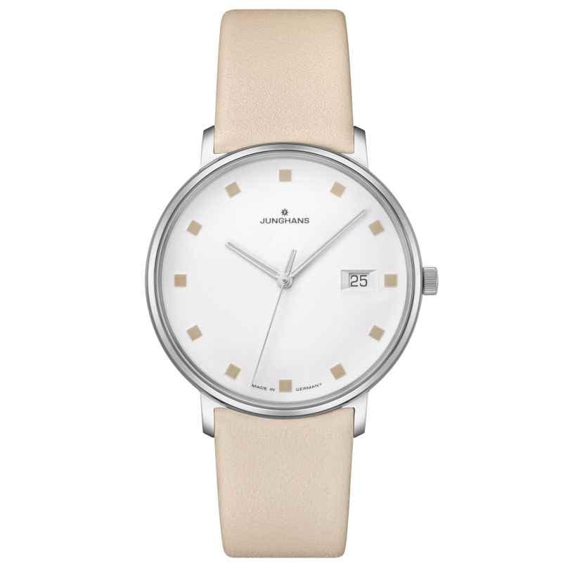 Junghans 047/4860.00 Damen-Armbanduhr Form Damen Lederband beige 4000897391577