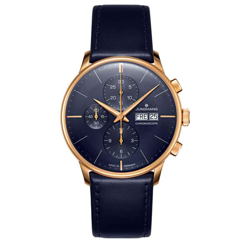 Junghans 027/7024.00 Herren-Automatikuhr Meister Chronoscope blau / roségold 4000897393052