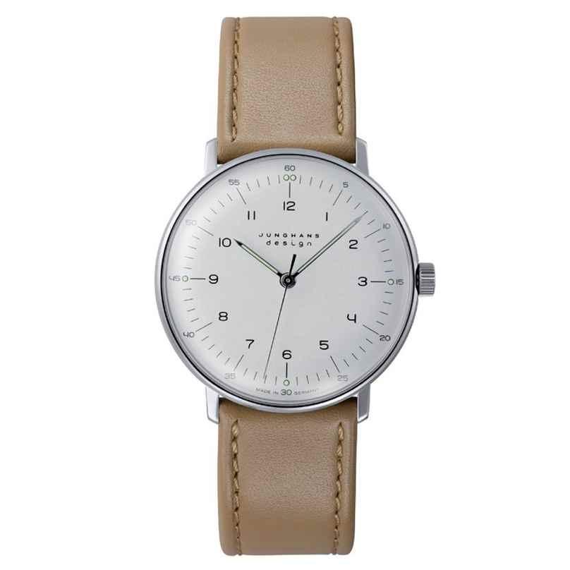Junghans 027/3701.04 max bill Handaufzug Armbanduhr Beige 4000897392024