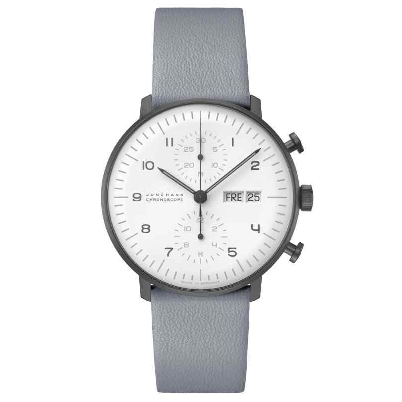 Junghans 027/4008.04 max bill Chronoscope Automatik Armbanduhr Lederband grau 4000897392864