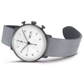 Junghans 027/4008.04 max bill Chronoscope Automatic Watch Grey Leather Strap