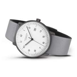 Junghans 027/4007.04 max bill Automatic Watch with Grey Leather Strap
