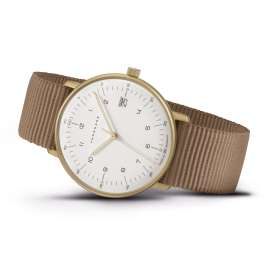 Junghans 047/7055.04 max bill Women's Watch Quartz Brown Nato Strap