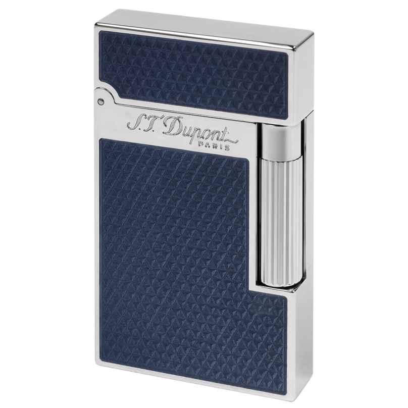 S.T. Dupont 016252 Feuerzeug mit Guillochierung unter blauem Lack 3597390242976