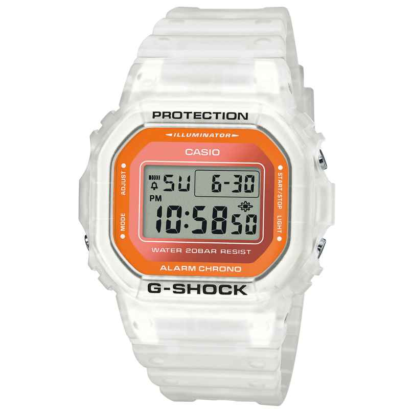 Casio DW-5600LS-7ER G-Shock Trending Digitaluhr Weiß / Orange 4549526269219