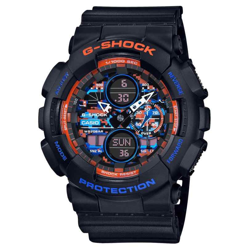 Casio GA-140CT-1AER G-Shock Classic Herrenuhr Schwarz/Orange/Blau 4549526288647