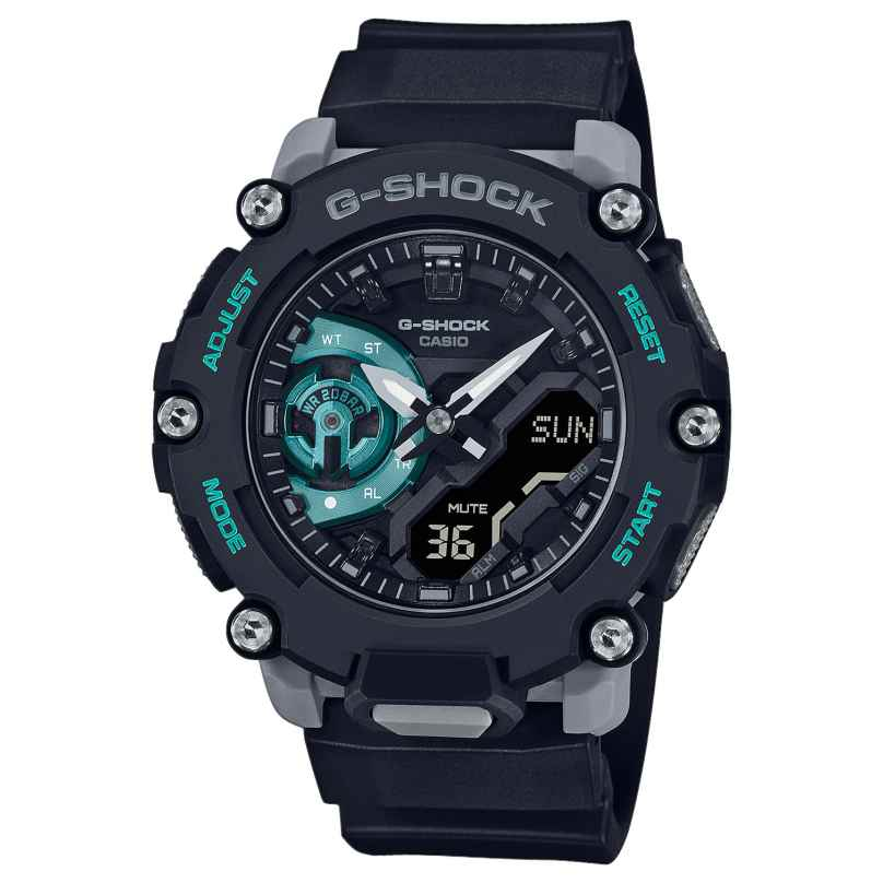 Casio GA-2200M-1AER G-Shock Classic AnaDigi Herrenuhr Schwarz/Grau/Türkis 4549526307133