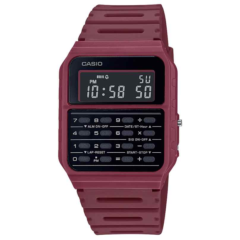 Casio CA-53WF-4BEF Vintage Edgy Wristwatch with Calculator Red 4549526272776