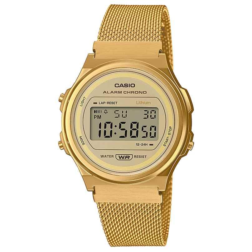 Casio A171WEMG-9AEF Digital Watch Vintage Gold Tone with Mesh Strap 4549526300868