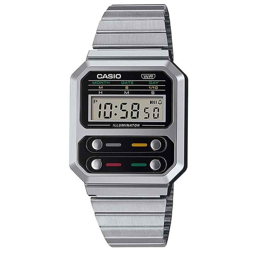 Casio A100WE-1AEF Vintage Edgy Wristwatch Silver Tone 4549526305917
