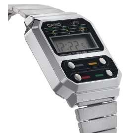 Casio A100WE-1AEF Vintage Edgy Armbanduhr Silberfarben