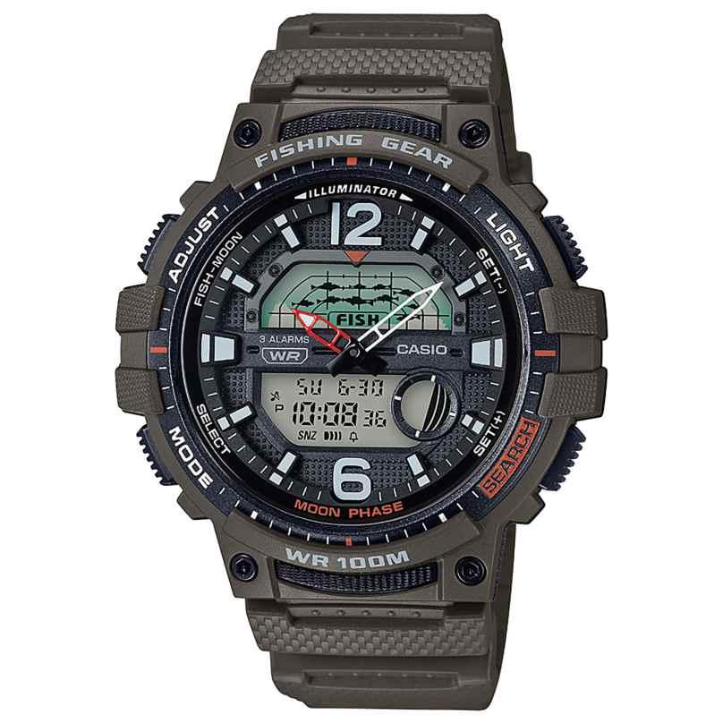 Casio WSC-1250H-3AVEF Herrenuhr AnaDigi für Fischer und Angler Olivgrün 4549526252662