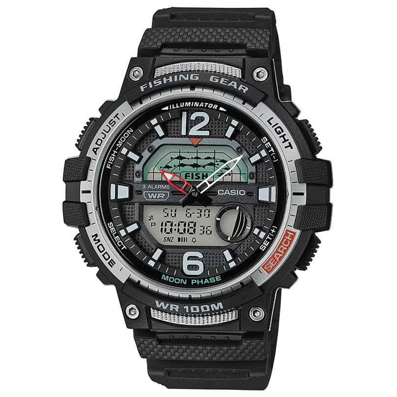 Casio WSC-1250H-1AVEF AnaDigi Herrenuhr für Angler und Fischer Schwarz 4549526252587