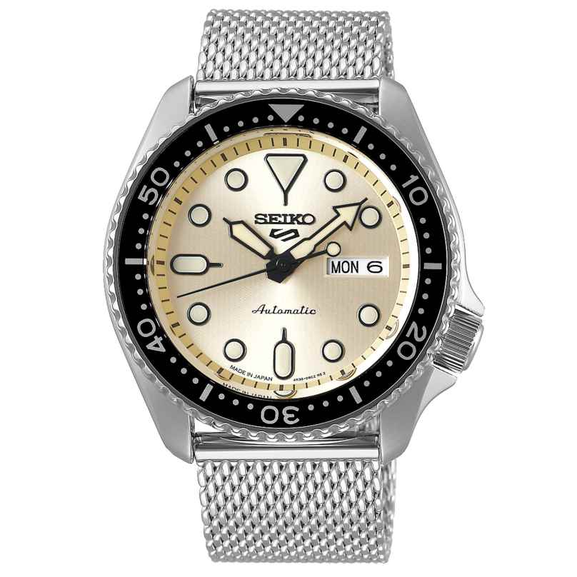 Seiko 5 Sports SRPE75K1 Automatic Watch for Men Stainless Steel Mesh Strap Beige 4954628235541