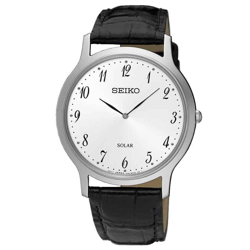 Seiko SUP863P1 Herren Solar-Armbanduhr mit Lederband schwarz 4954628215475