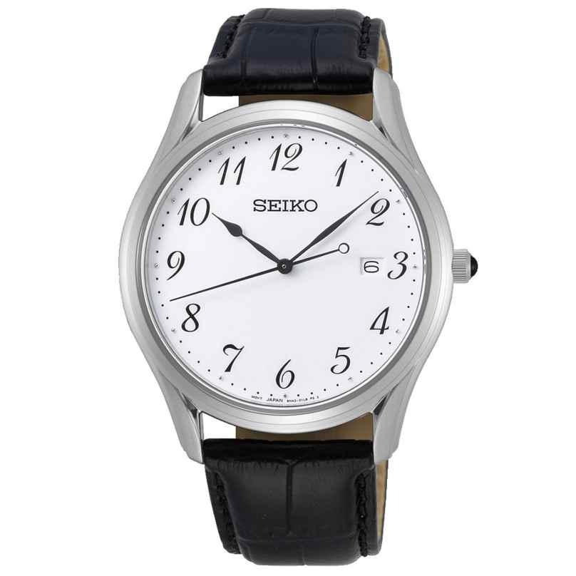 Seiko SUR303P1 Herrenuhr Saphirglas Lederband schwarz / weiß 4954628233738