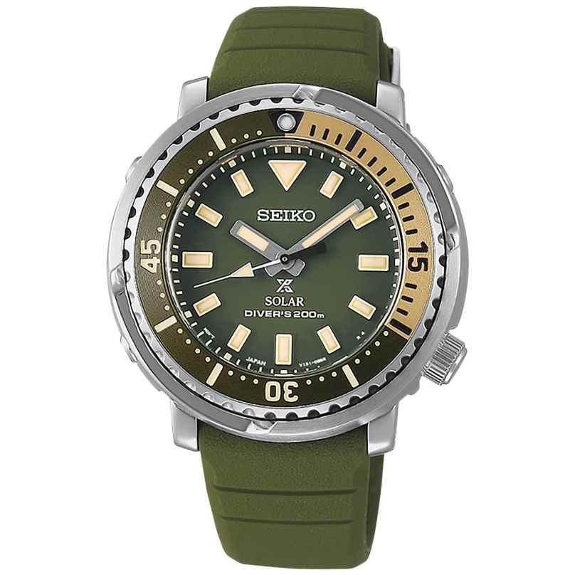Seiko SUT405P1 Prospex Sea Solar Taucher-Uhr Grün/Beige 4954628239235
