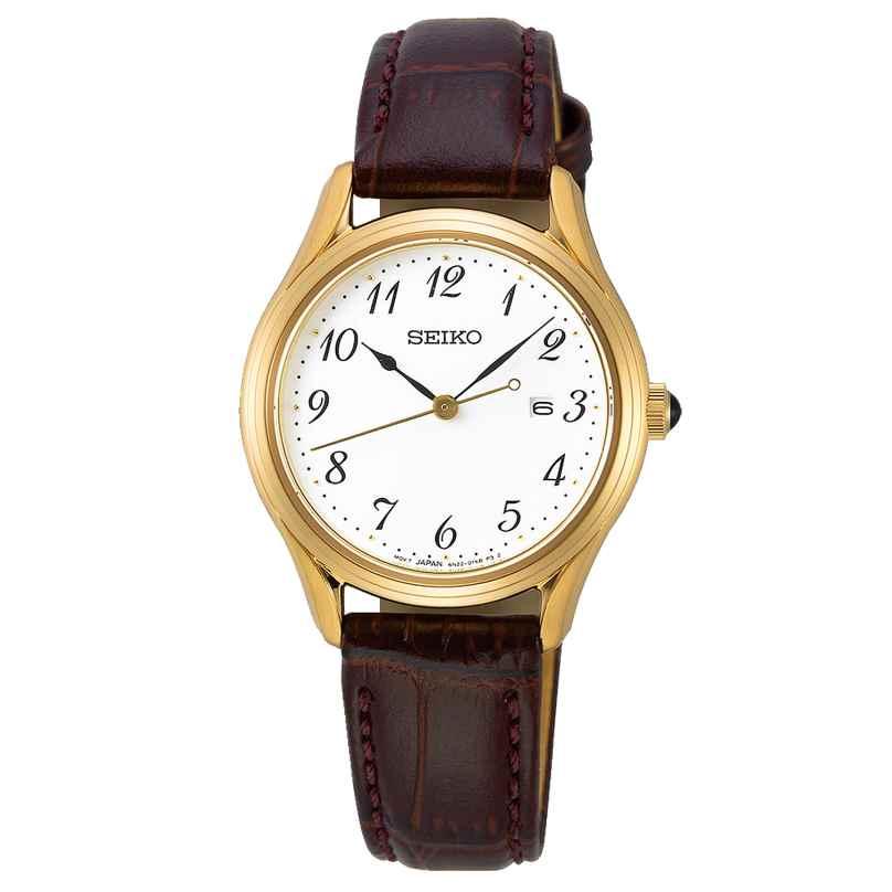 Seiko SUR638P1 Damenuhr mit braunem Lederband gold / weiß 4954628233394