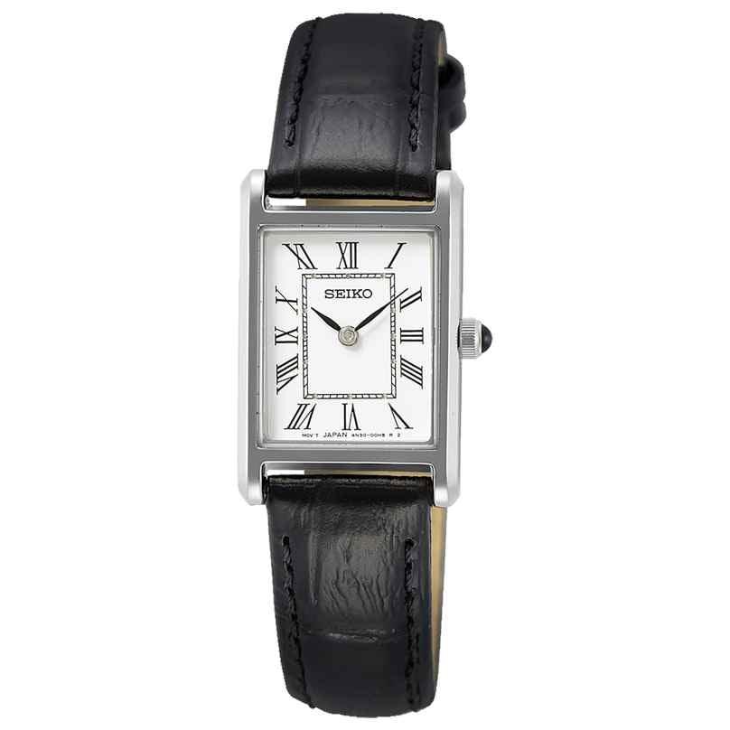 Seiko SWR053P1 Damen-Armbanduhr mit Lederband Schwarz 4954628239556