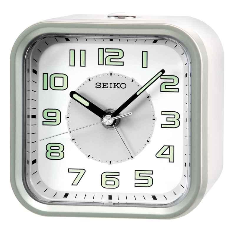 Seiko QHE128A Wecker ohne Ticken weiß / silber 4517228828645