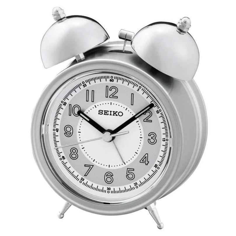 Seiko QHK035S Glocken-Wecker mit Leisegang silber / weiß 4517228828584