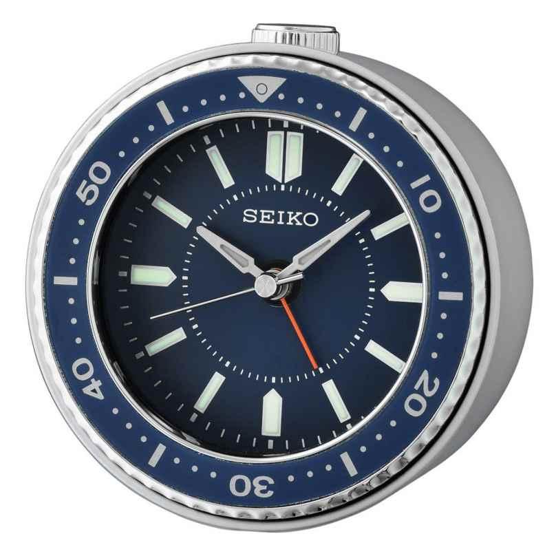 Seiko QHE184L Wecker mit Leisegang Quarz blau / silber 4517228837364