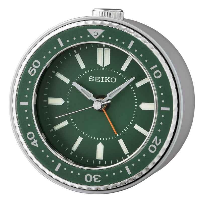 Seiko QHE184M Wecker Quarz Leisegang grün / silber 4517228837371