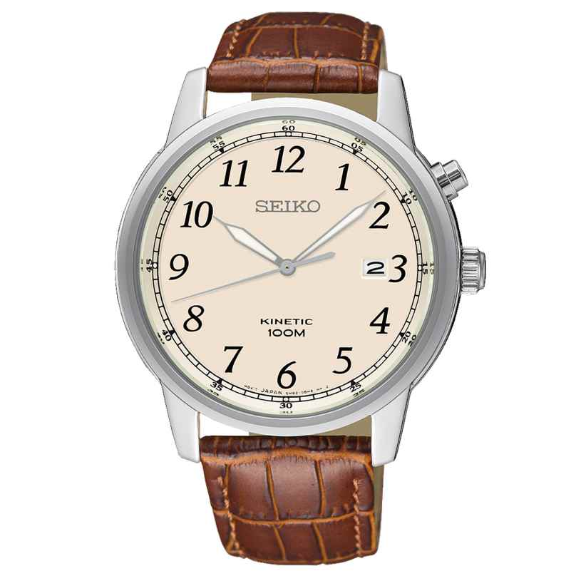 Seiko SKA779P1 Kinetic Herren-Armbanduhr mit braunem Lederband 4954628219473