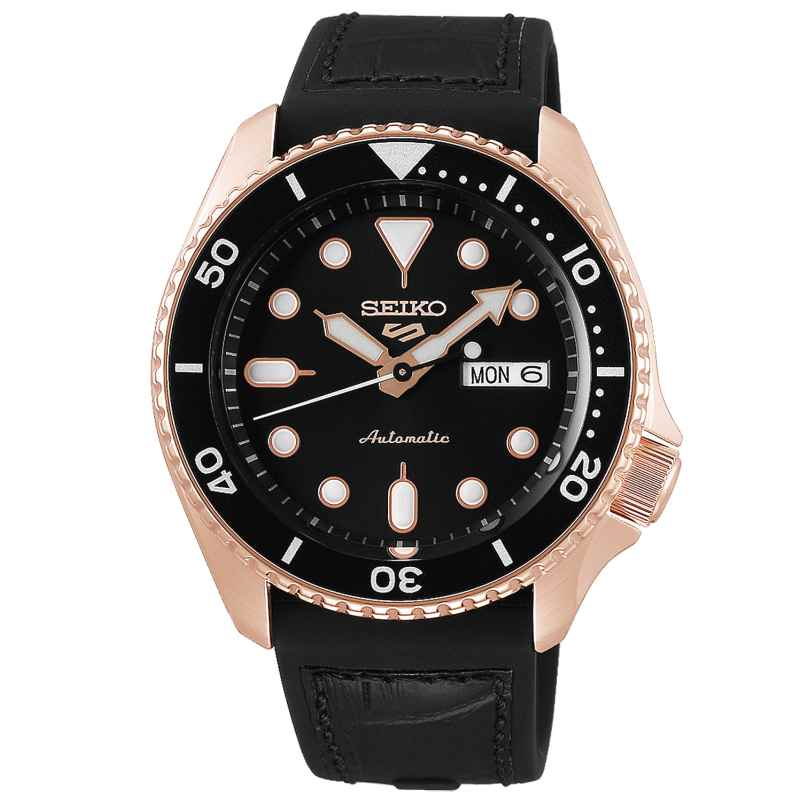 Seiko 5 Sports SRPD76K1 Men's Watch Automatic black / rose gold 4954628232281