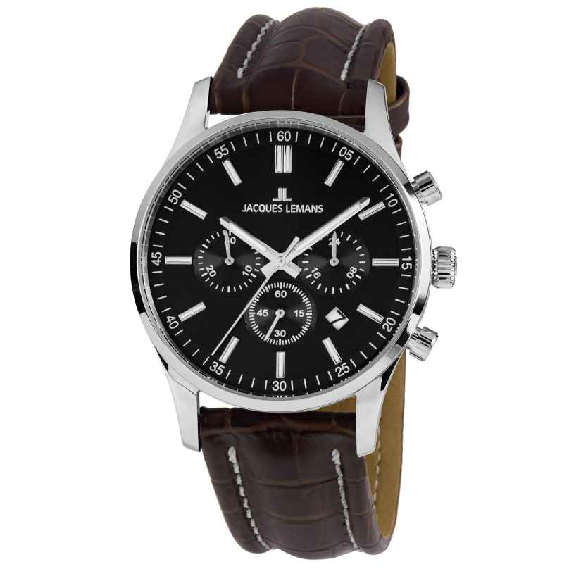 Jacques Lemans 1-2025A.1 Men's Watch Chronograph London Brown Leather Strap 4040662163572