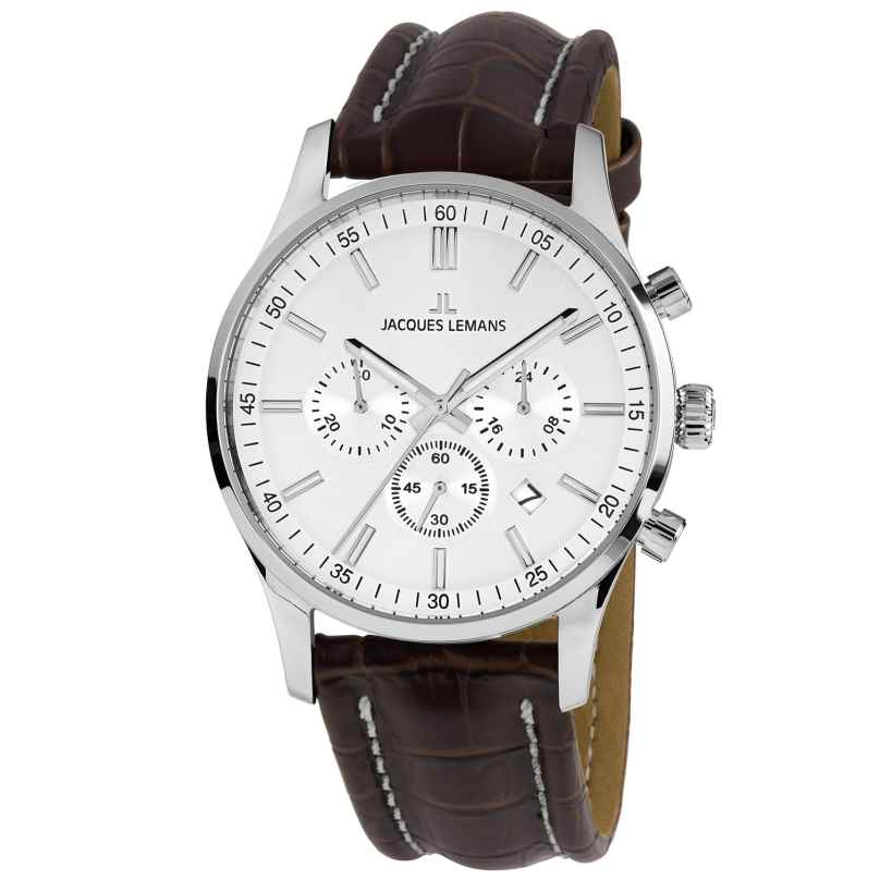 Jacques Lemans 1-2025B.1 Herren-Armbanduhr Chronograph London Lederband 4040662161103