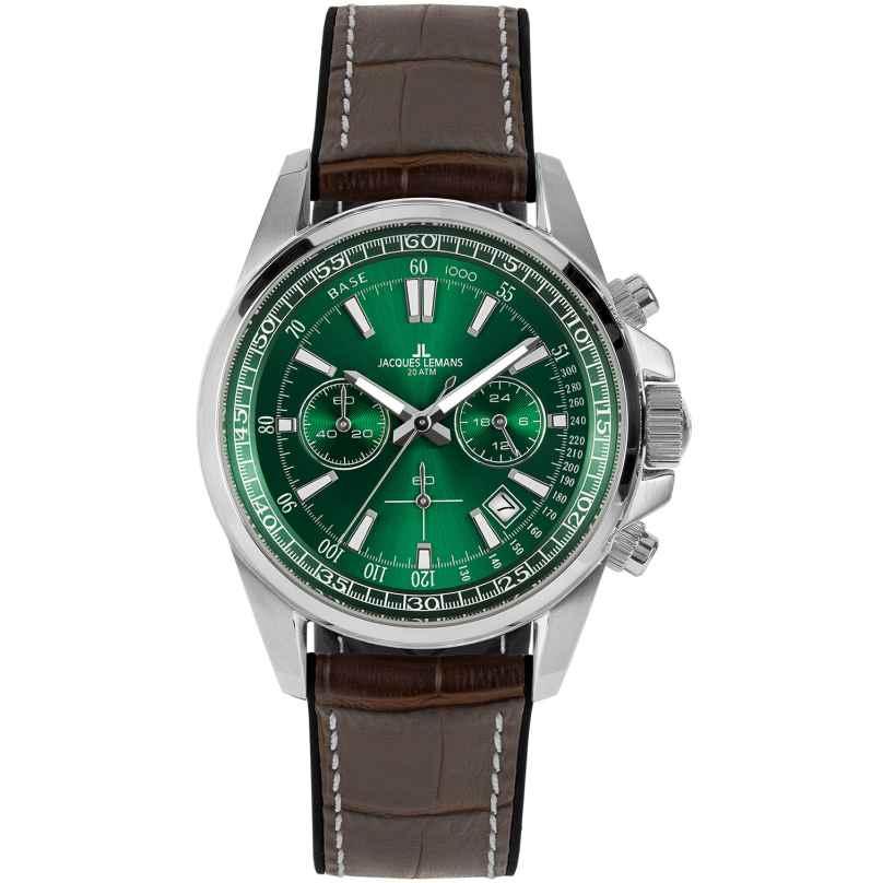 Jacques Lemans 1-2117D Herren-Armbanduhr Chronograph Liverpool Braun/Grün 4040662164128