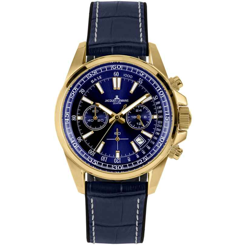 Jacques Lemans 1-2117G Herren-Chronograph Liverpool Blau / Goldfarben 4040662164159