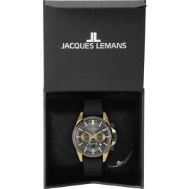 Jacques Lemans 1-2119D Herrenuhr Chronograph Liverpool Schwarz/Goldfarben