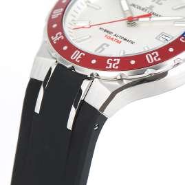 Jacques Lemans 1-2109B Herren-Uhr Hybromatic mit Silikonband Schwarz/Silberfarben