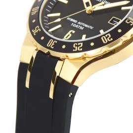 Jacques Lemans 1-2109E Herrenuhr Hybromatic mit Silikonband Schwarz/Goldfarben