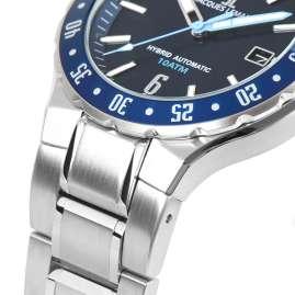 Jacques Lemans 1-2109H Herren-Uhr Hybromatic mit Stahlband Blau