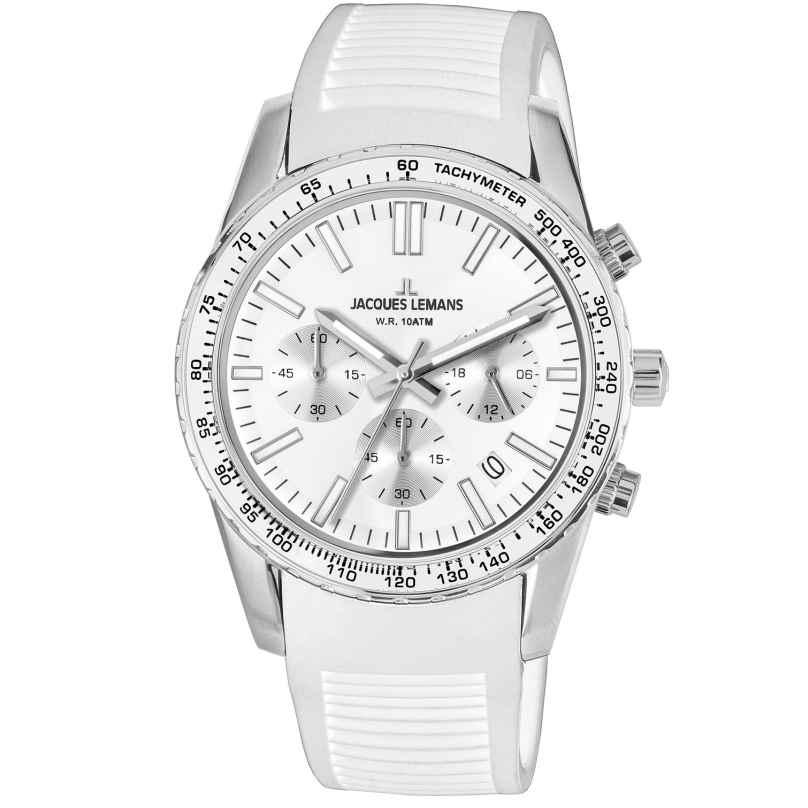 Jacques Lemans 1-2059B Armbanduhr Chronograph Liverpool Weiß Ø 39 mm 4040662144090