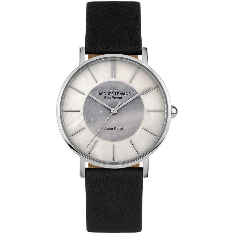 Jacques Lemans 1-2112A Eco-Power Damen-Armbanduhr Solar Schwarz 4040662163237
