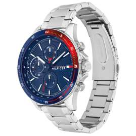 Tommy Hilfiger 1791718 Men's Watch Multifunction Bank Silver Tone / Blue