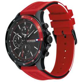 Tommy Hilfiger 1791722 Men's Wristwatch Bank Red / Black