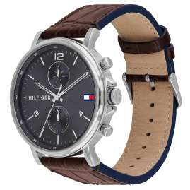 Tommy Hilfiger 1710416 Men's Watch Multifunction Daniel Leather Strap Brown / Grey