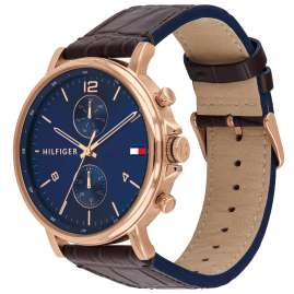 Tommy Hilfiger 1710418 Men's Watch Multifunction Daniel Leather Strap Brown / Blue