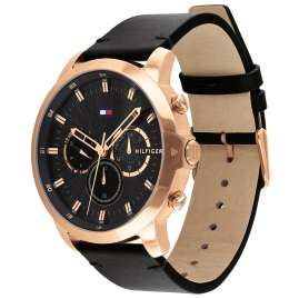 Tommy Hilfiger 1791798 Men's Watch Chronograph Dual Time Jameson Black/Rose Gold