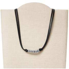 Fossil JF03003040 Men's Leather Necklace Rondelle Black